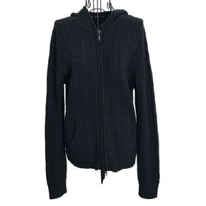 Lord & Taylor 100% 2 Ply Cashmere Cable Hoodie